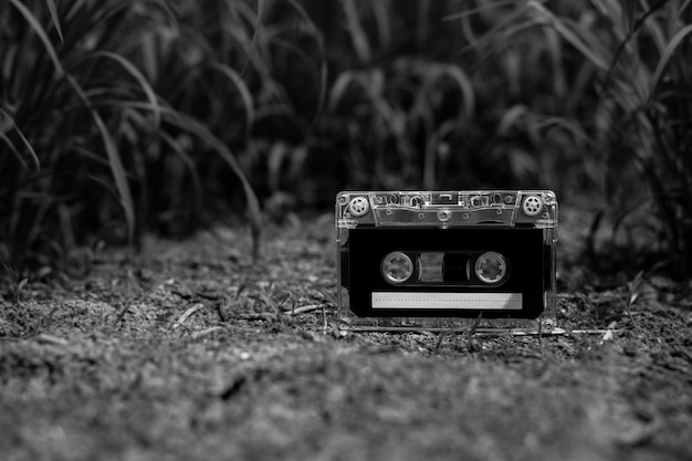 Vintage audio cassette tapes on the floor in the garden. - monochrome