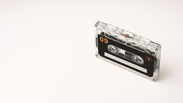 Vintage audio cassette tapes on white background. - vintage backdrop style.