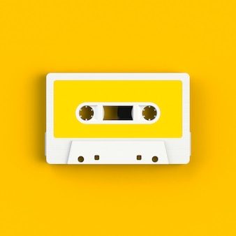 Vintage audio tape cassette on yellow