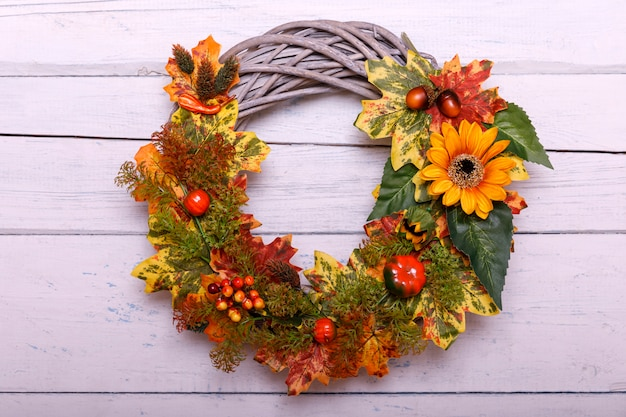 Vintage autumn wreath from leaves and flowers