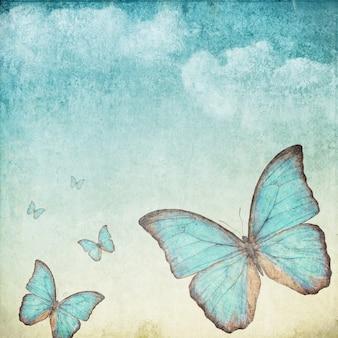 파란 나비와 함께 빈티지 배경