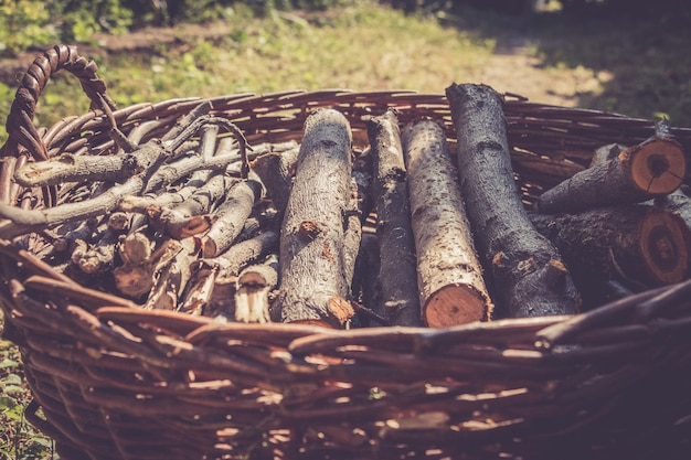 Vintage basket with firewood outdoor in the countryside