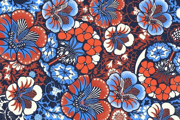 빈티지 바틱 꽃 패턴 일러스트