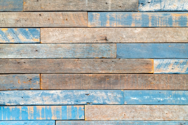 Vintage, beautiful wood panel wall / floor with blue paint peeled, worn - wood texture, nail holes