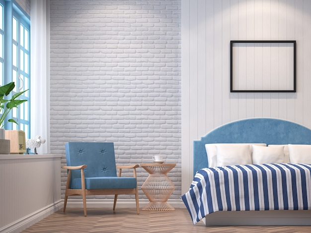 3d визуализация спальни в винтажном стиле