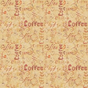 葡萄酒米黄老纸无缝的咖啡样式与字法,心脏,咖啡杯和杯子踪影