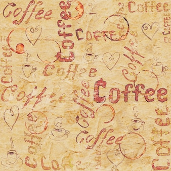 Vintage beige seamless coffee pattern with lettering, hearts, coffee cups and cups traces