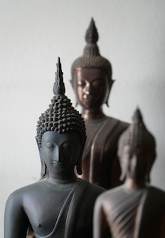 Vintage black ancient buddhas statue in the middle of other buddhas statue