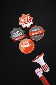 Vintageblack friday stickers and megaphone