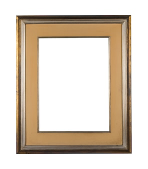 Vintage blank frame with brown wooden borders on a white background