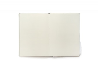 Vintage blank open notebook isolated on white background.