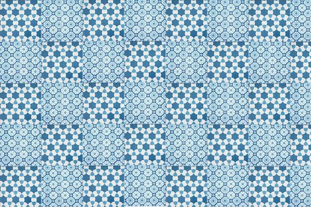 Vintage blue ceramic tiles wall decoration. turkish ceramic tiles wall background