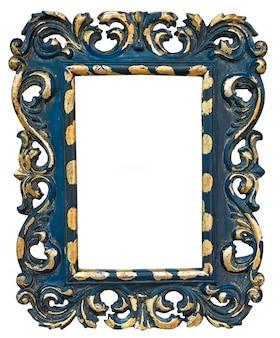 Vintage blue photo frame isolated