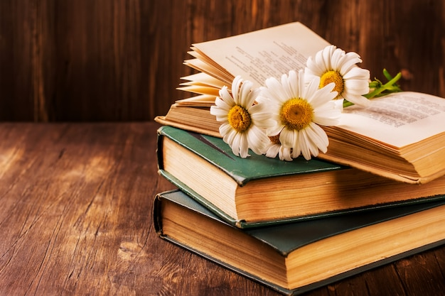 Vintage books and camomiles on wooden background