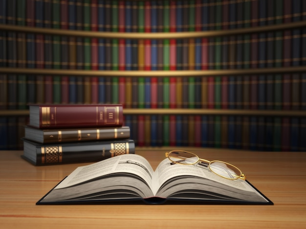 Старинные книги в библиотеке. концепция образования или книжного магазина. 3d