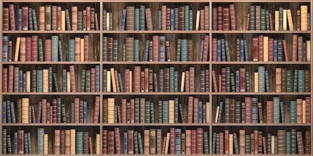 오래 된 도서관에서 책장에 빈티지 책입니다. 교육 및 문학 개념입니다. 3d 그림