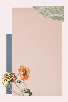 Vintage botanical collage background illustration
