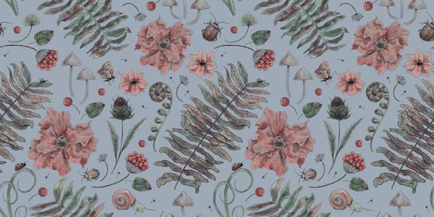 蝶カブトムシハーブシダの花とヴィンテージ植物パターンの森の背景