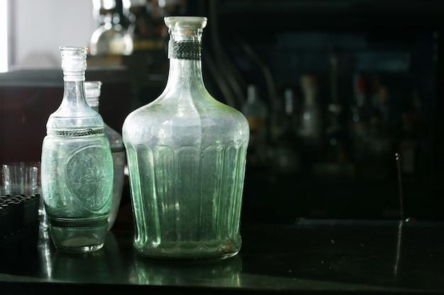 Vintage bottles with black space