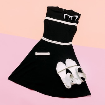 Vintage boutique. outfit for ladies. glamorous retro dress and accessories.
