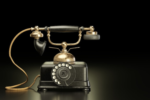 Старинный латунный и черный железный телефон в темном фоне. в прошлом это был старинный инструмент связи, который позволял звонить друг другу с помощью набора номера. скопируйте место для текста. 3d визуализация иллюстрации.