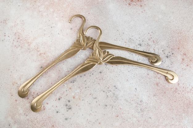 Vintage brass clothes hangers