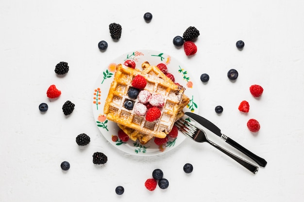 Vintage breakfast with waffles