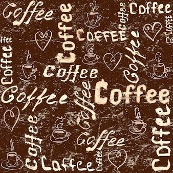 Vintage brown coffee surface with lettering, hearts and coffee cups