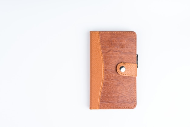 Vintage brown leather cover paper notebook