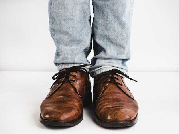 Vintage, brown shoes, jeans and man's feet