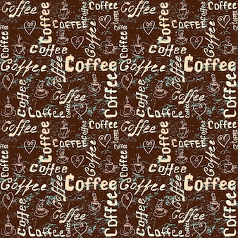 Vintage brown and turquoise coffee surface with lettering, hearts and coffee cups
