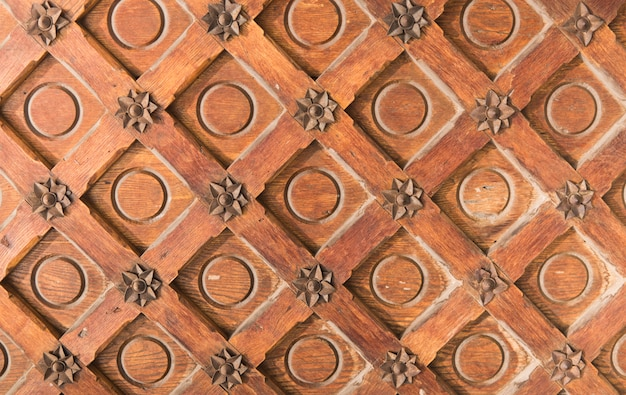 Vintage brown wood texture with metal decoration.