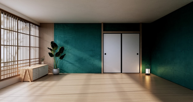 The vintage cabinet design, green living room with armchair japanese style.3d rendering