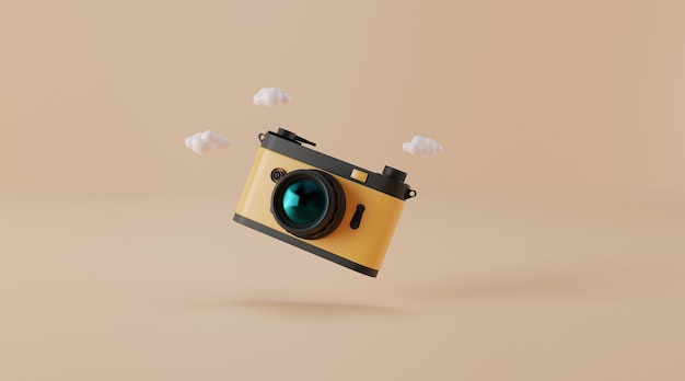 Vintage camera 3d illustration.