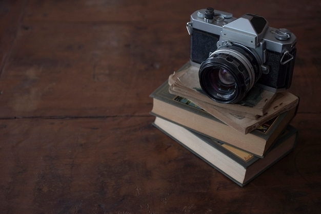 Vintage camera and books