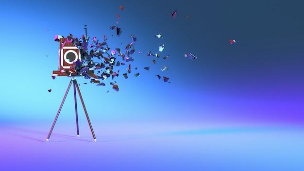 작은 부분으로 떨어지는 보라색 네온 조명의 빈티지 카메라, 3d 일러스트