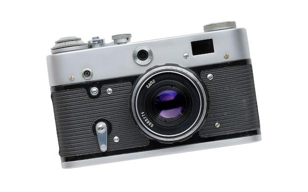 빈티지 카메라 흰색 배경에 고립입니다. 60년대 오래된 필름 카메라의 인기 모델.