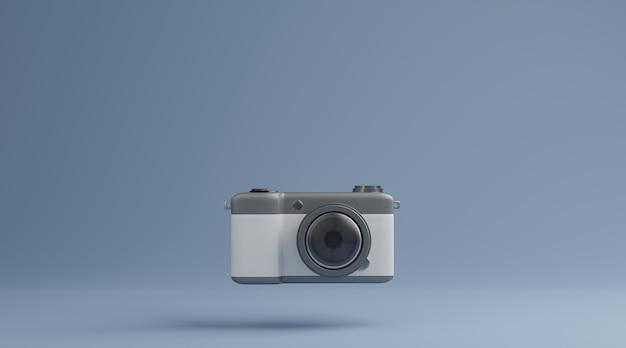 파란색 배경 사진 개념을 통해 빈티지 카메라입니다. 3d 렌더링