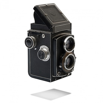 Vintage camera on white background