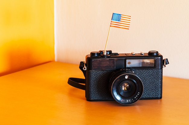 Vintage camera with americas flags