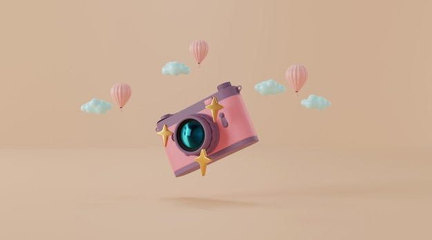 Vintage camera with balloon and clouds 3d illustration