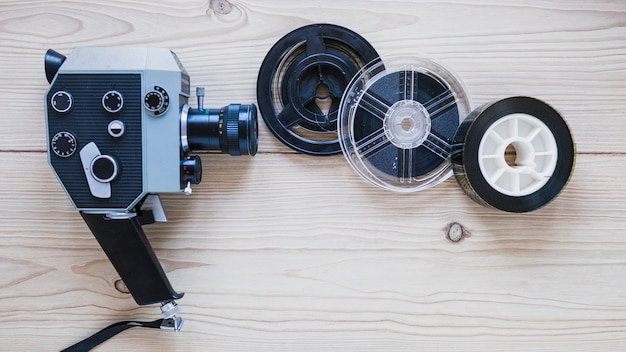 Vintage camera with filmstrips
