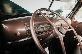 Vintage car dashboard.