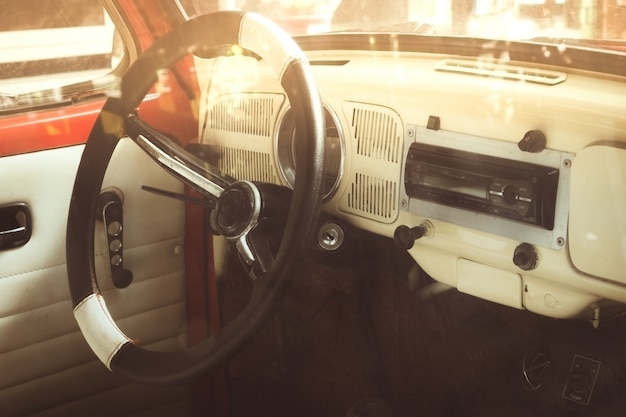 Vintage car interior - closeup inside of antique cars