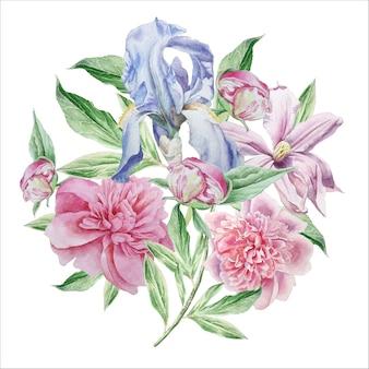 Винтажная открытка с весенними цветами.