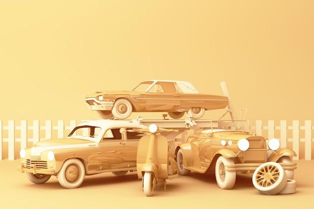 노란색 바탕에 빈티지 스쿠터와 노란색 파스텔 컬러로 빈티지 자동차. 3d 렌더링