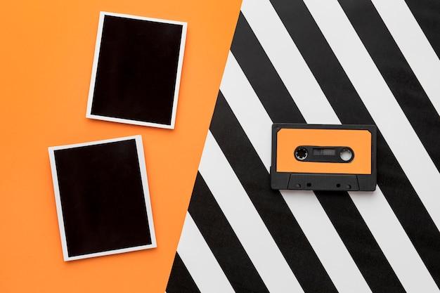 ヴィンテージカセットテープとレトロな写真