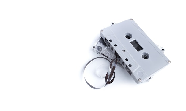 Vintage cassette tape isolated on white surface