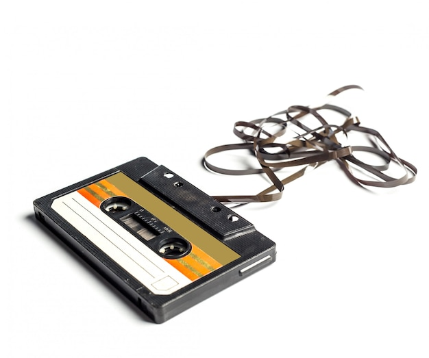 Vintage cassette tape isolated white surface