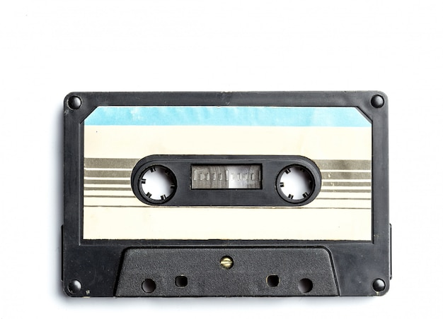 Vintage cassette tape isolated on white